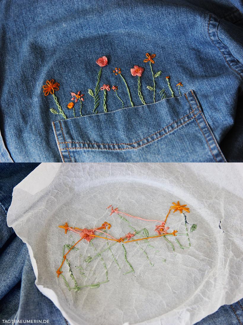 Upcycling-DIY: Jeanshemd mit Blumen besticken